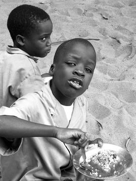 two blind boys, lunch, Benin